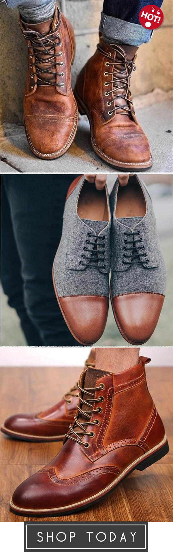 Men Vintage Leather Ankle Boots Menhill Super Comfortable Office Weekends Shoes Retro Leather Men Carved Flow Dress Shoes Men Boots Men Fitness Fashion Outfits