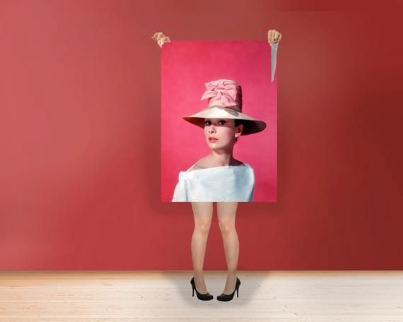 Audrey Hepburn Pink Hat - Classic Art Print Poster Rolled  Hollywood's Golden Age style Wall Art Bla #hollywoodgoldenage