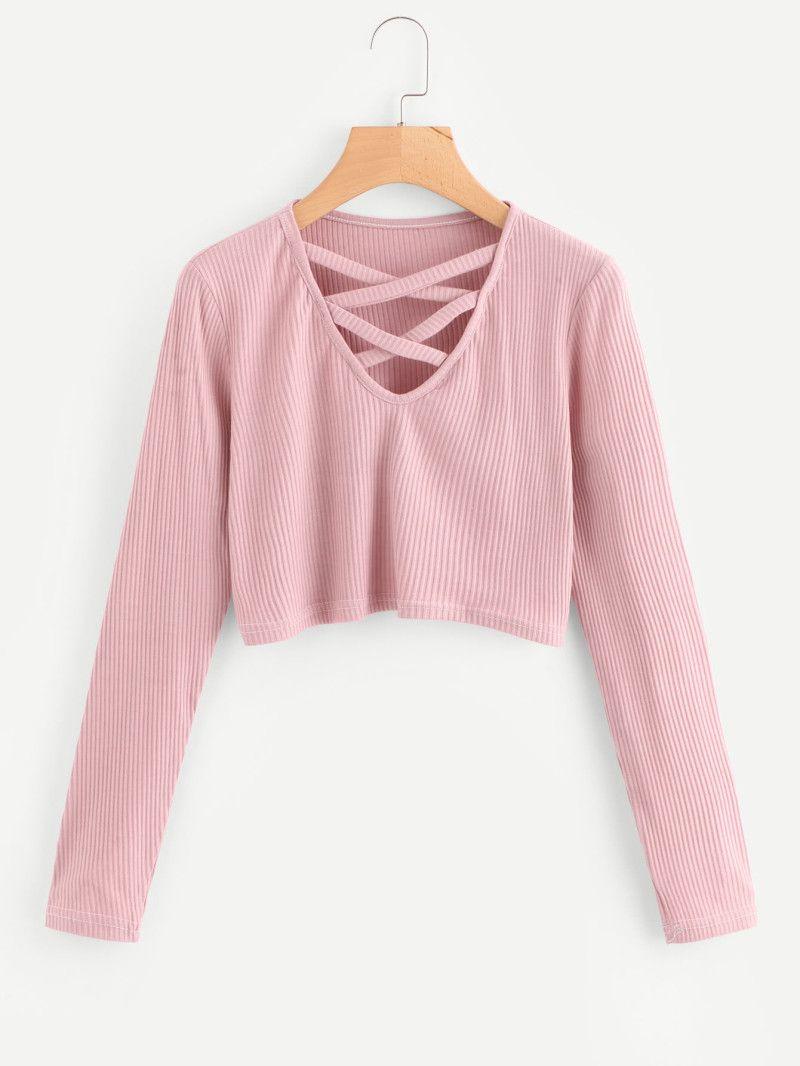 Criss Cross Ribbed Crop Tee In 2018 Shirts Pinterest Tendencies Long Shirt Blue Pink Linen Biru Muda S Cropped Fashion 101 Pastel