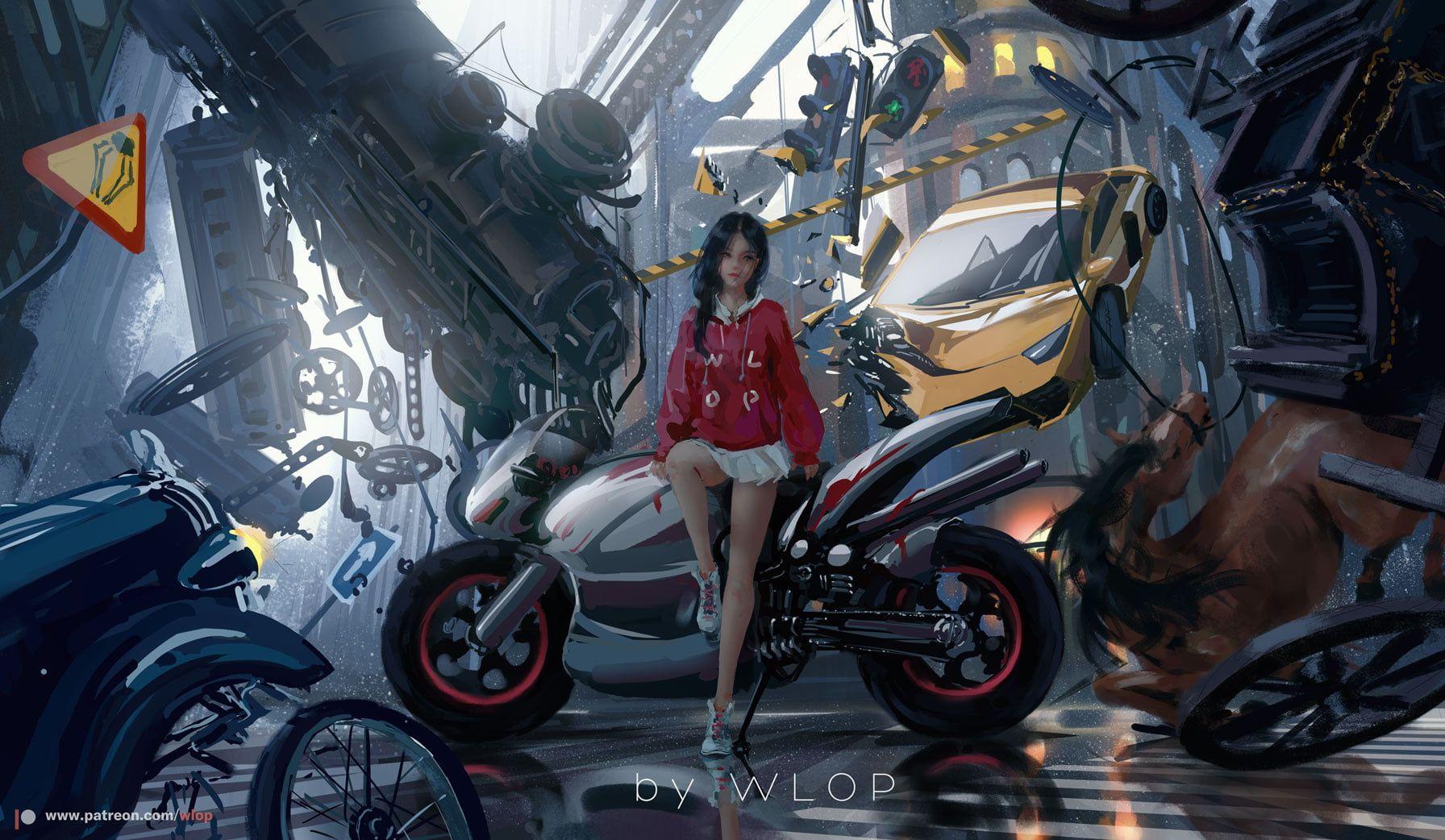 Civilization Motorcycle Digital Digital Prints Wlop 720p