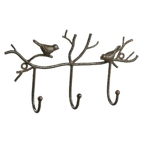 Metal Twig Wall Hooks with Birds