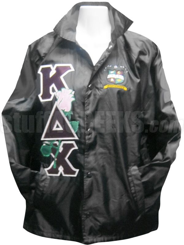 Kappa Delta Chi crossing jacket with the crest on the left breast and a  pink rose threaded through the Greek letters down the right. 13626031c079