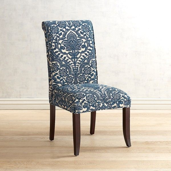 Pier 1 Imports Angela Navy Trellis Dining Chair 220 Liked On Polyvore Featuring Home Furniture Ch Blue Dining Chair Dining Chairs Blue Upholstered Chair