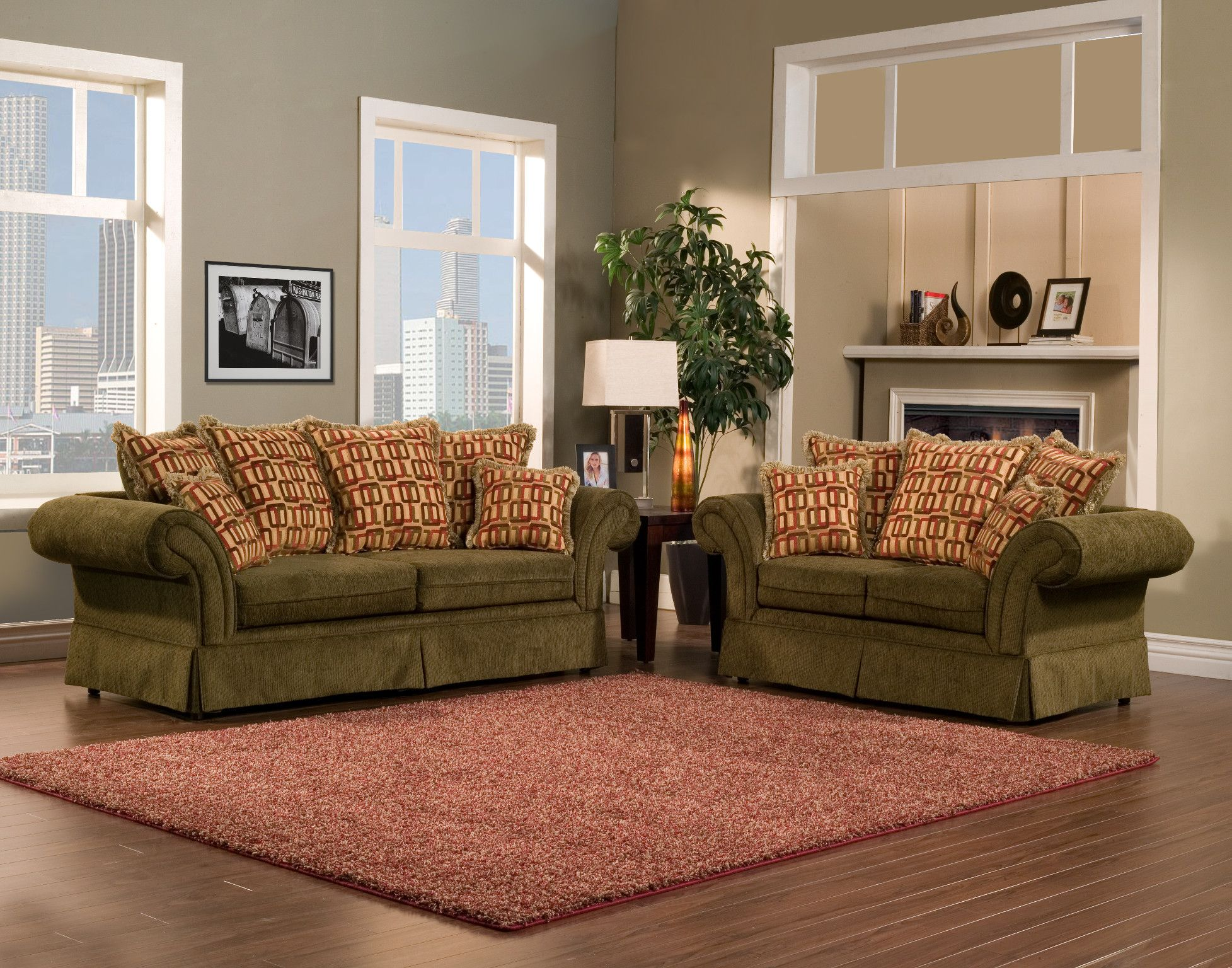 Pleasureable Olive Green Fabric Traditional Sofa With Red Cushions As Well As Grey Wall Painted Also Green Sofa Living Living Room Green Green Sofa Living Room #olive #green #living #room #rug