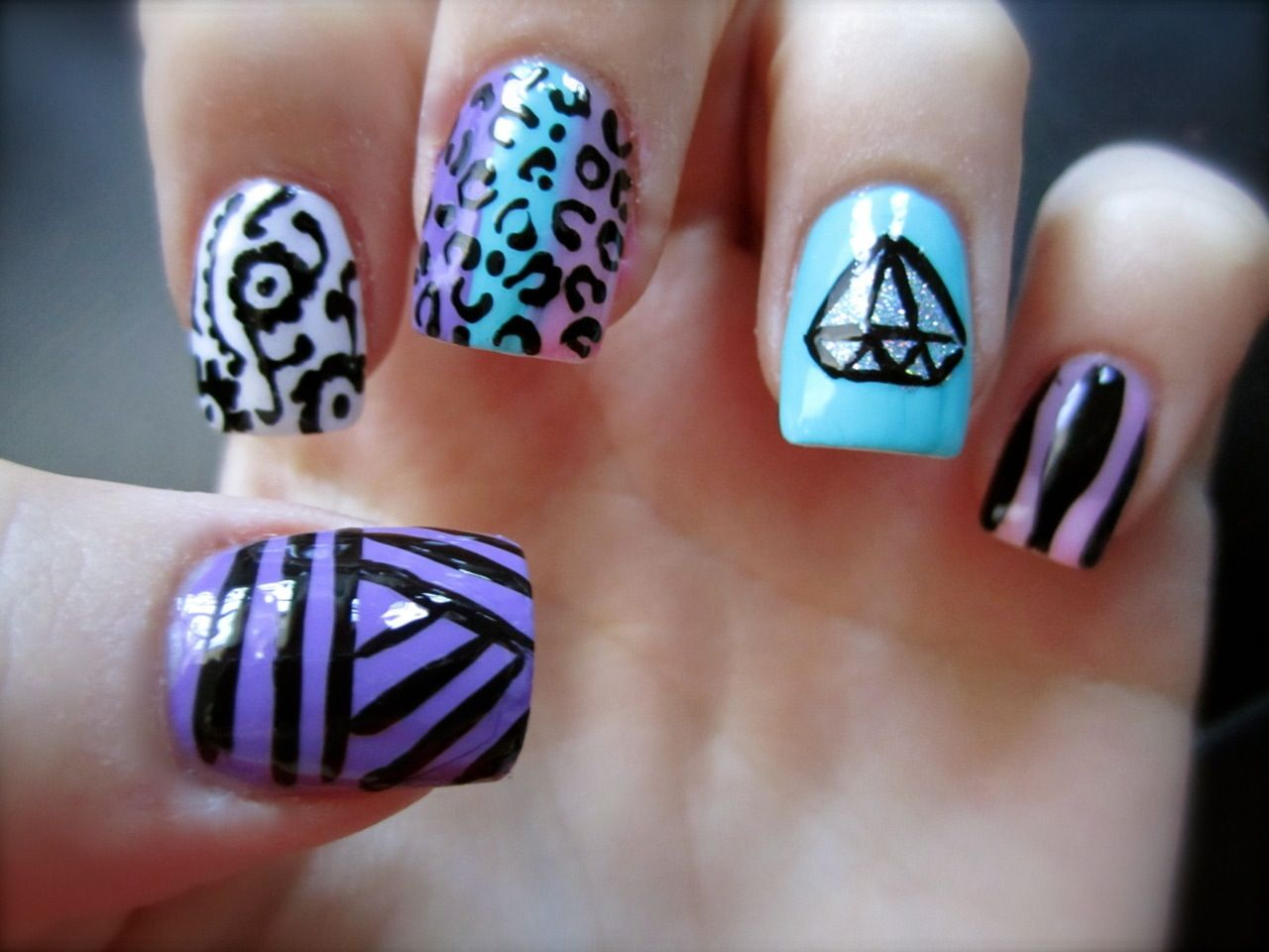 Really cool blue and purple different designed nails | Nails | Pinterest