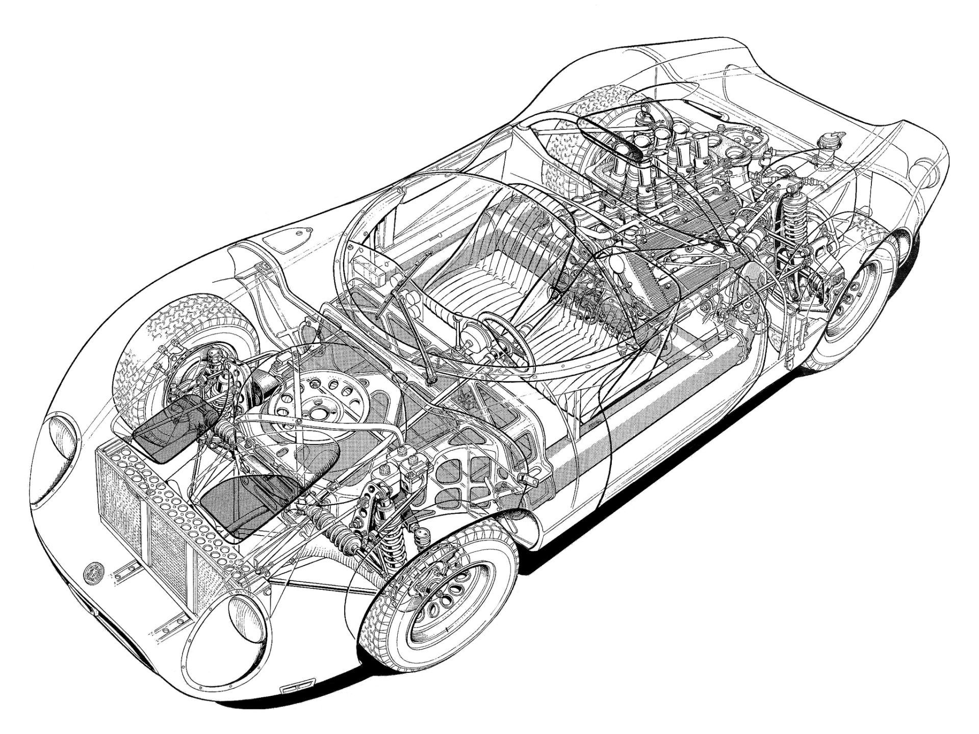 28 rare cutaway illustrations of classic cars cutaway cars and technical illustration