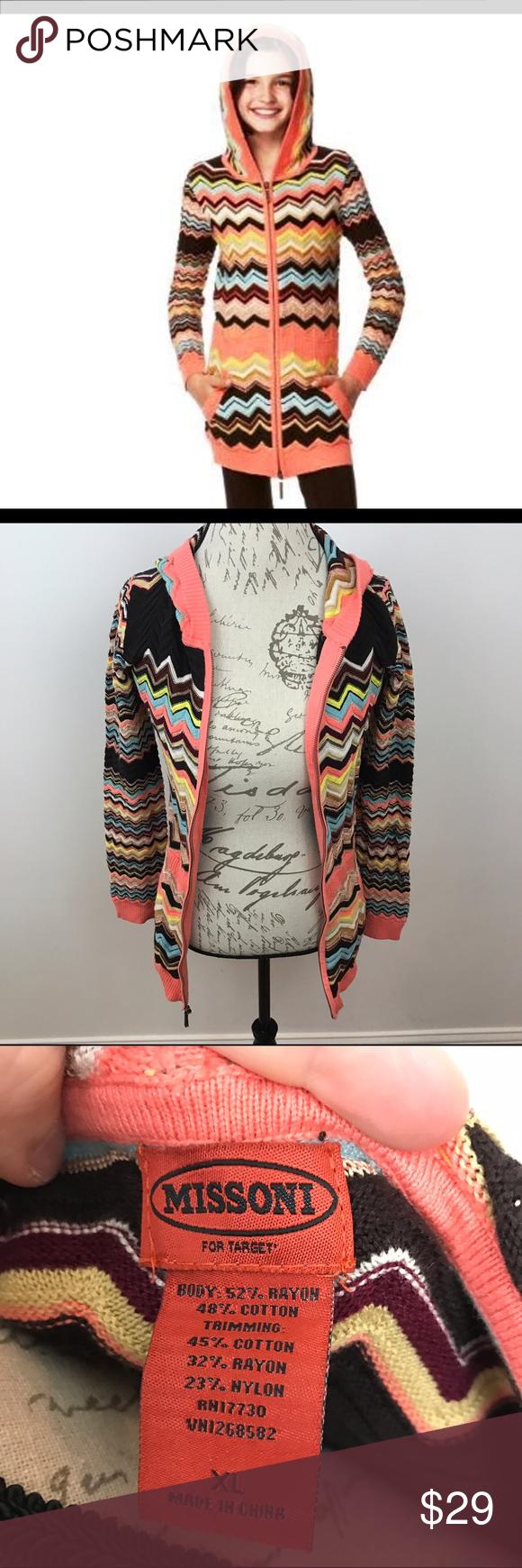 Missoni Target Girl's Full Zip Hooded Sweater XL | Hooded sweater ...