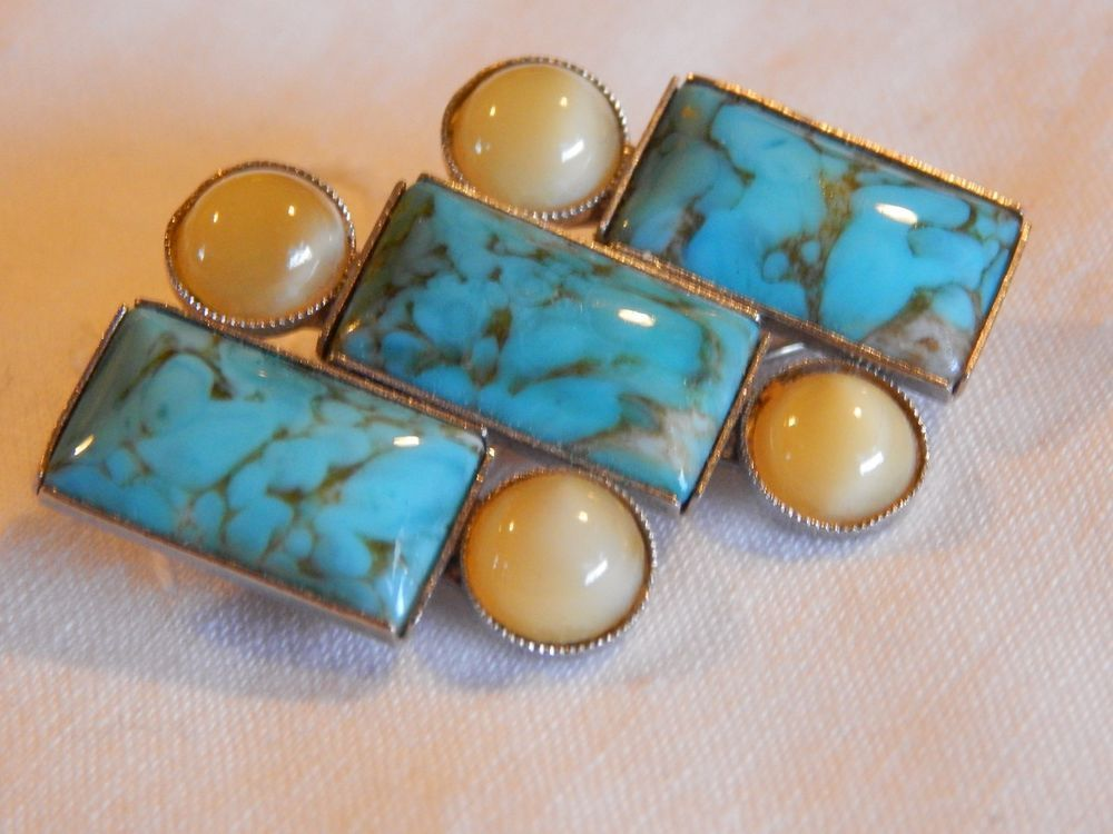 Vintage+signed+turquoise+art+glass++&+moonglow+cabachon+pin/brooch+#SignedPWestGermany