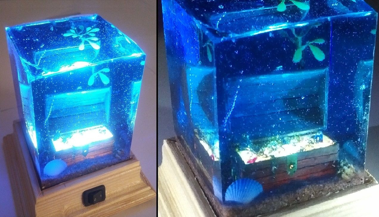 How To Make Epoxy Resin Wood L E D Lamp Treasure Chest On Sea Bed Diy Epoxy Resin Wood Epoxy Resin Crafts Epoxy