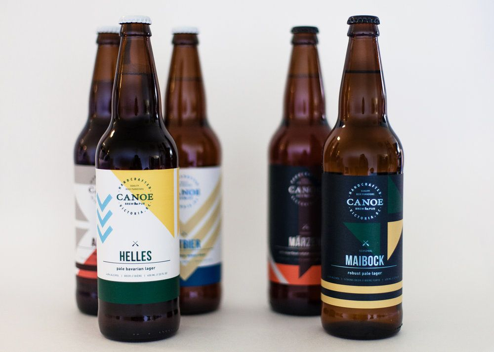 waterfront brewery and restaurant labels inspired by the pacific