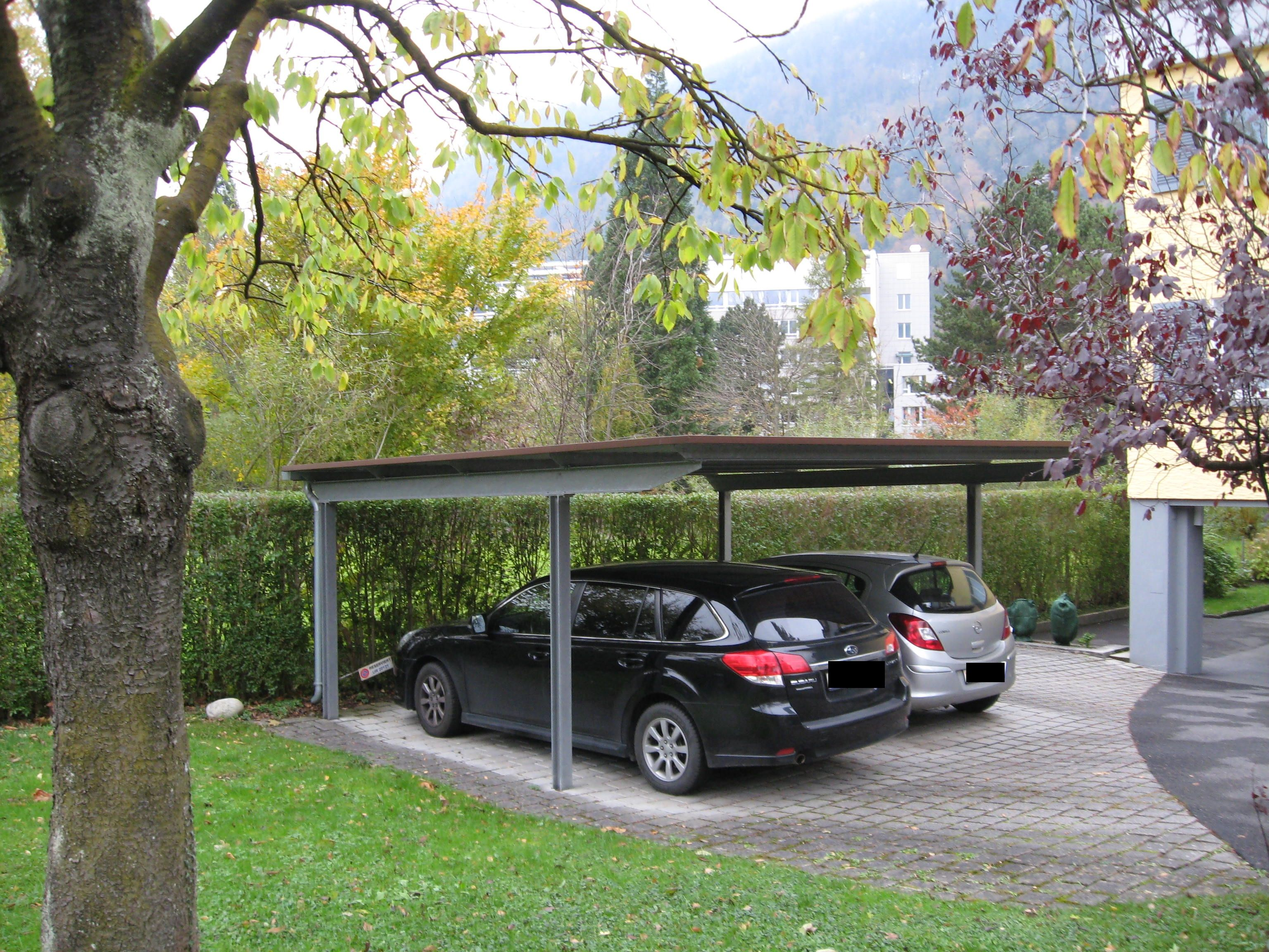 flachdach carport 6 geneigt aus stahl f r zwei autos. Black Bedroom Furniture Sets. Home Design Ideas