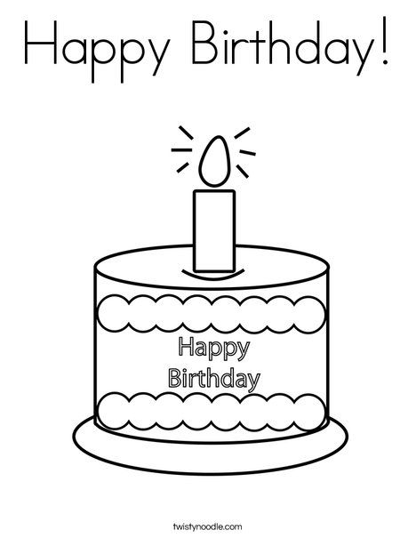 Happy Birthday Coloring Page from TwistyNoodle.com