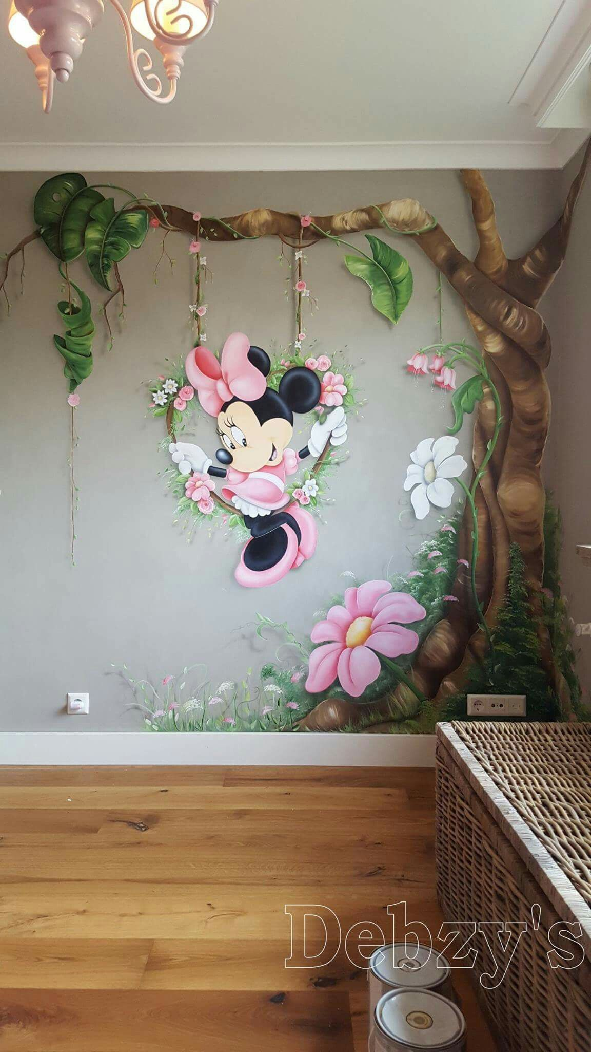 Fototapete Kinderzimmer Minnie Mouse Minnie Mouse Muurschildering Kinderzimmer In 2019
