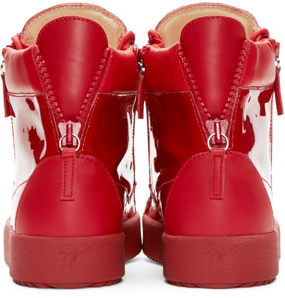 1ee85108aee Giuseppe Zanotti - Red Patent Leather High-Top London Sneakers ...
