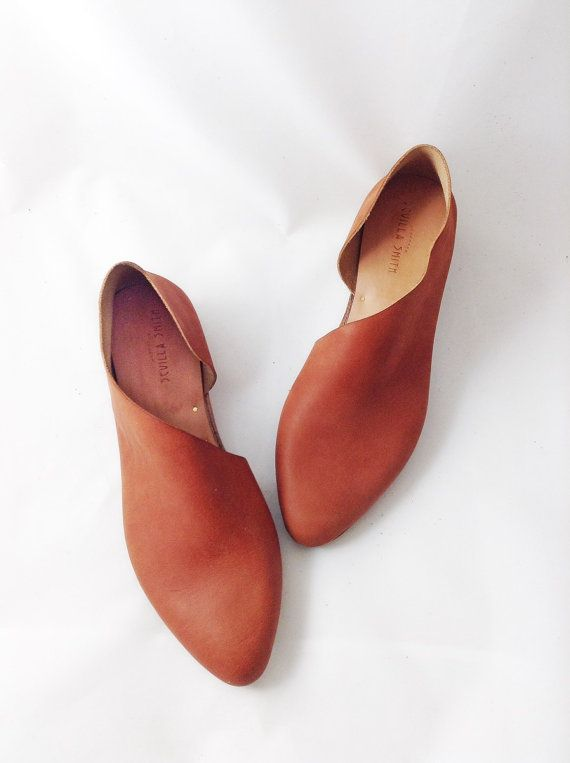 The Sandy MVT~ Handmade to Order~ Soft Mahogany Leather flats with low  heel~ Womens Leather Shoes ~ petite and large sizes available e71ffd79d4c6
