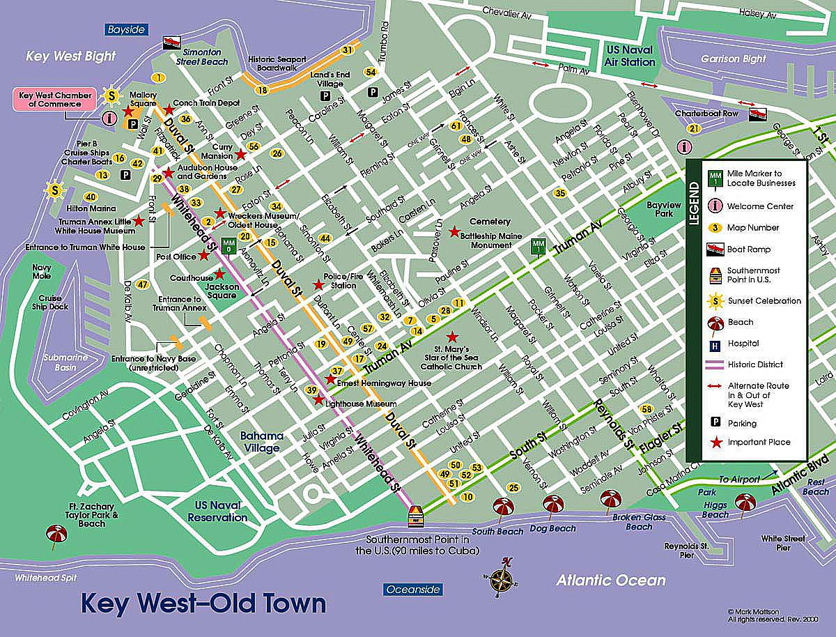 Key West Street Map Map Of Key West