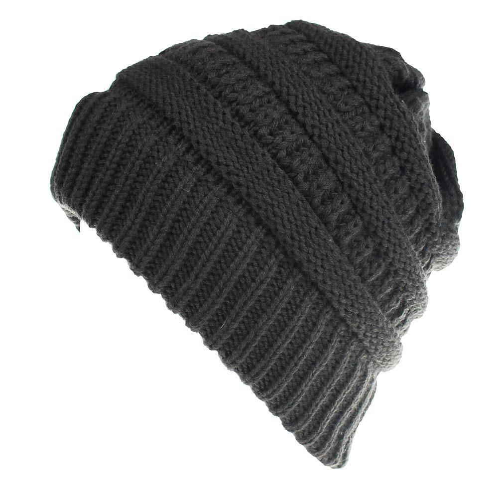NEW Beanie Hat Women/'s Warm Winter Cap Blue Dark Crochet Knit Pom Pom Baggy Ski