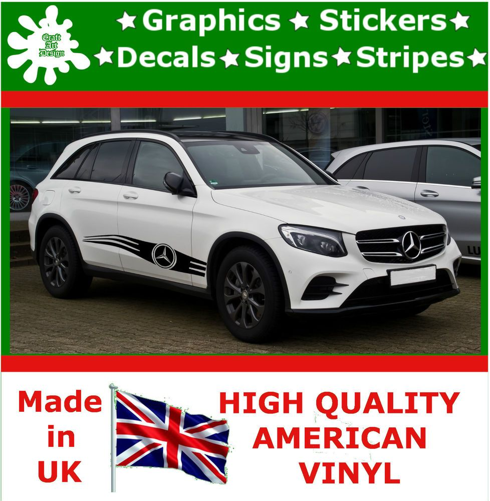 X Mercedes Car Side Strips Flame Graphics X Decal Vinyl - Custom vinyl decals for caravans