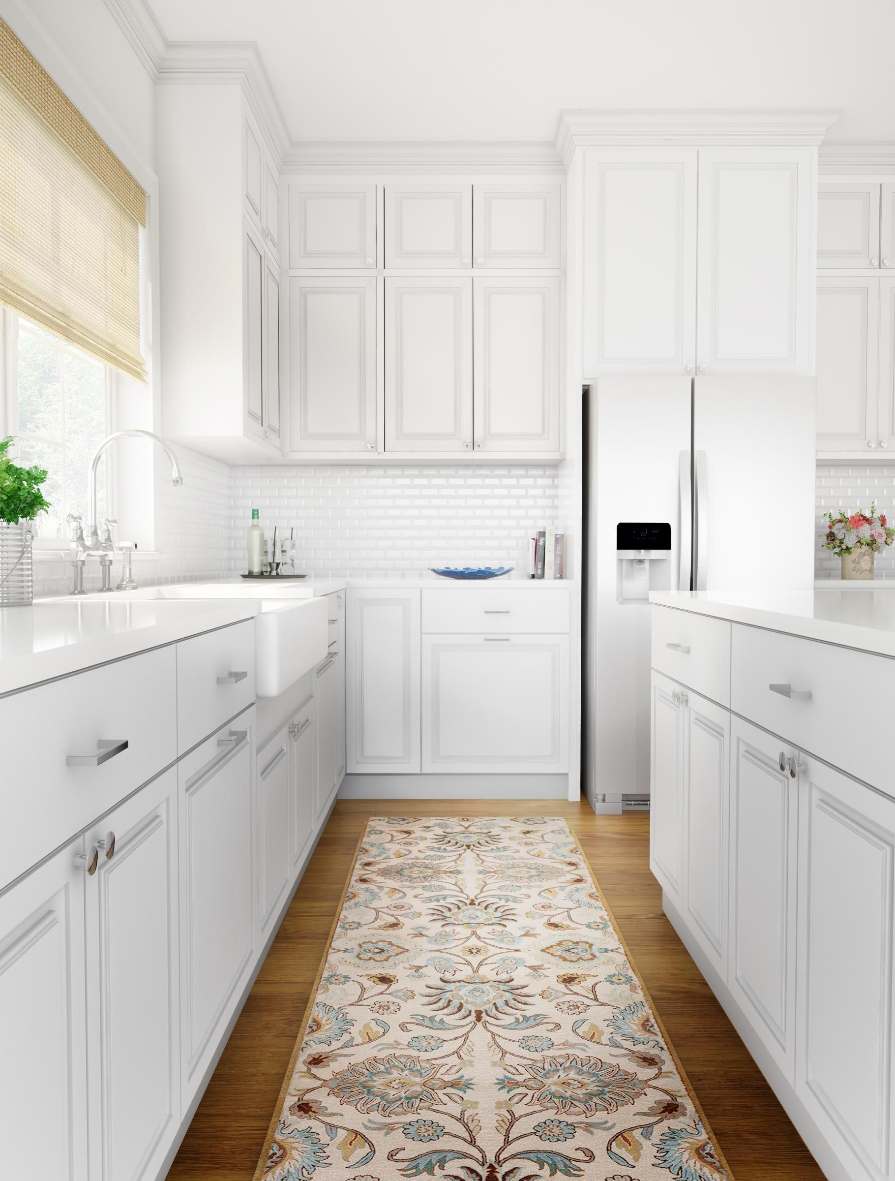 Kitchen Idea In London With Flat Panel Cabinets White Cabinets White Backsplash An Island Kitchen Renovation Classic White Kitchen White Kitchen Remodeling