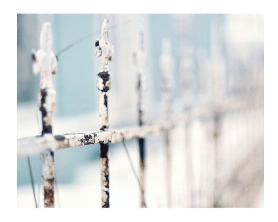 Winter Photograph, Fence Photo, Shabby Chic Art, Icy Blue Color, Fine Art Photography, Home Decor, Winter Decor