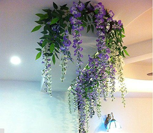 34 ft realistic romantic classic artificial fake wisteria vine ft realistic romantic classic artificial fake wisteria vine ratta silk flowers for garden floral decoration diy living room hanging flower plant vine home mightylinksfo Images