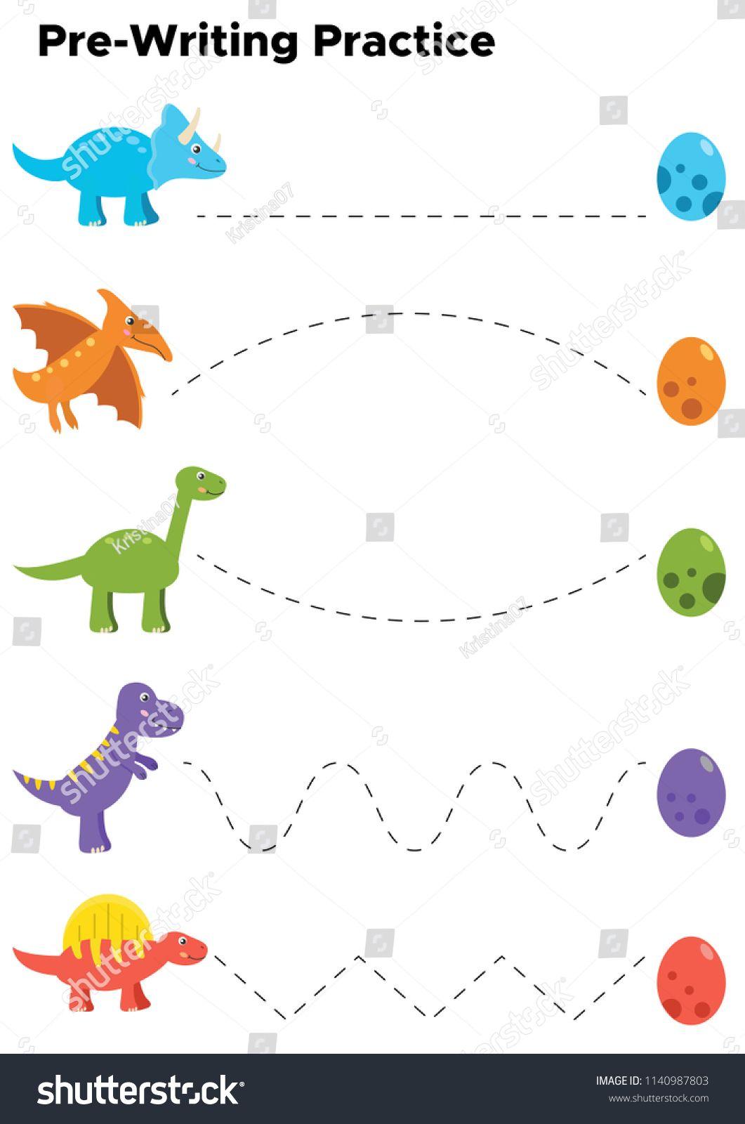 Writing Practice Preschool Kids Trace Line stockvector (rechtenvrij) 1140987803
