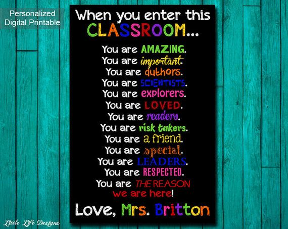 Classroom Decor. Gift for Teacher. Classroom Sign. Personalized ...