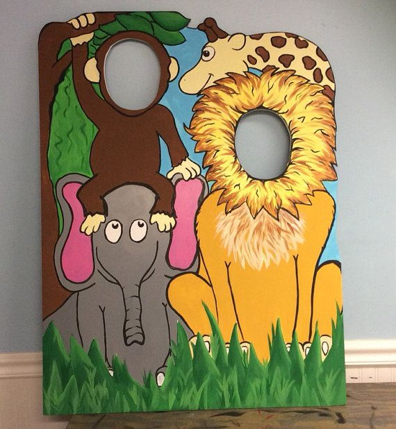 Pink Zoo Animals Safari Lion Zebra Baby 1st First Birthday: Jungle Birthday Party Prop . Jungle Cutout . Safari Face