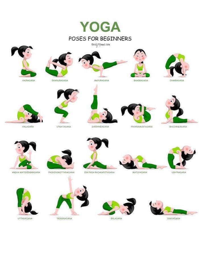 eine Fotocollage mit unterschiedlichen Übungen für Einsteiger, Yoga-Positionen Anleitung, dunkelgrüne Hose, hellgrünes Top