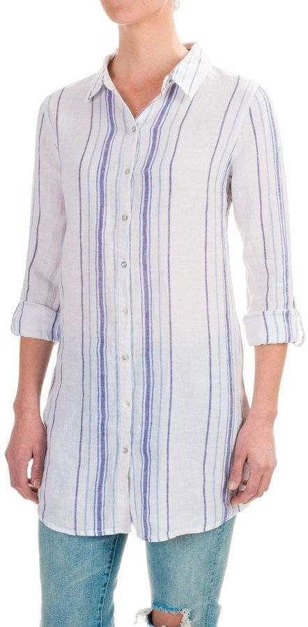 d5f6549a8 St. Tropez Striped Linen Button-Down Tunic Shirt - Roll-Tab Long Sleeve.  Love the length!
