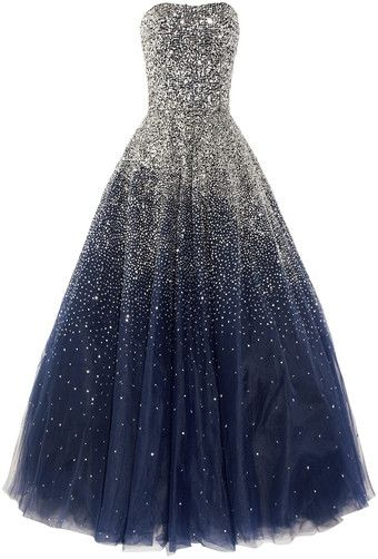 86d5240386fd MARCHESA Sequined Strapless Silk Tulle Gown .... OMG drop dead gorgeous !  Starry night dress. A formal version of a Galaxy dress. The deep navy mixed