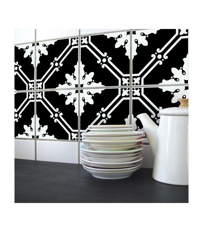 Stickers Pour Carrelage De Cuisine Ou Salle De Bain Noir Et Blanc