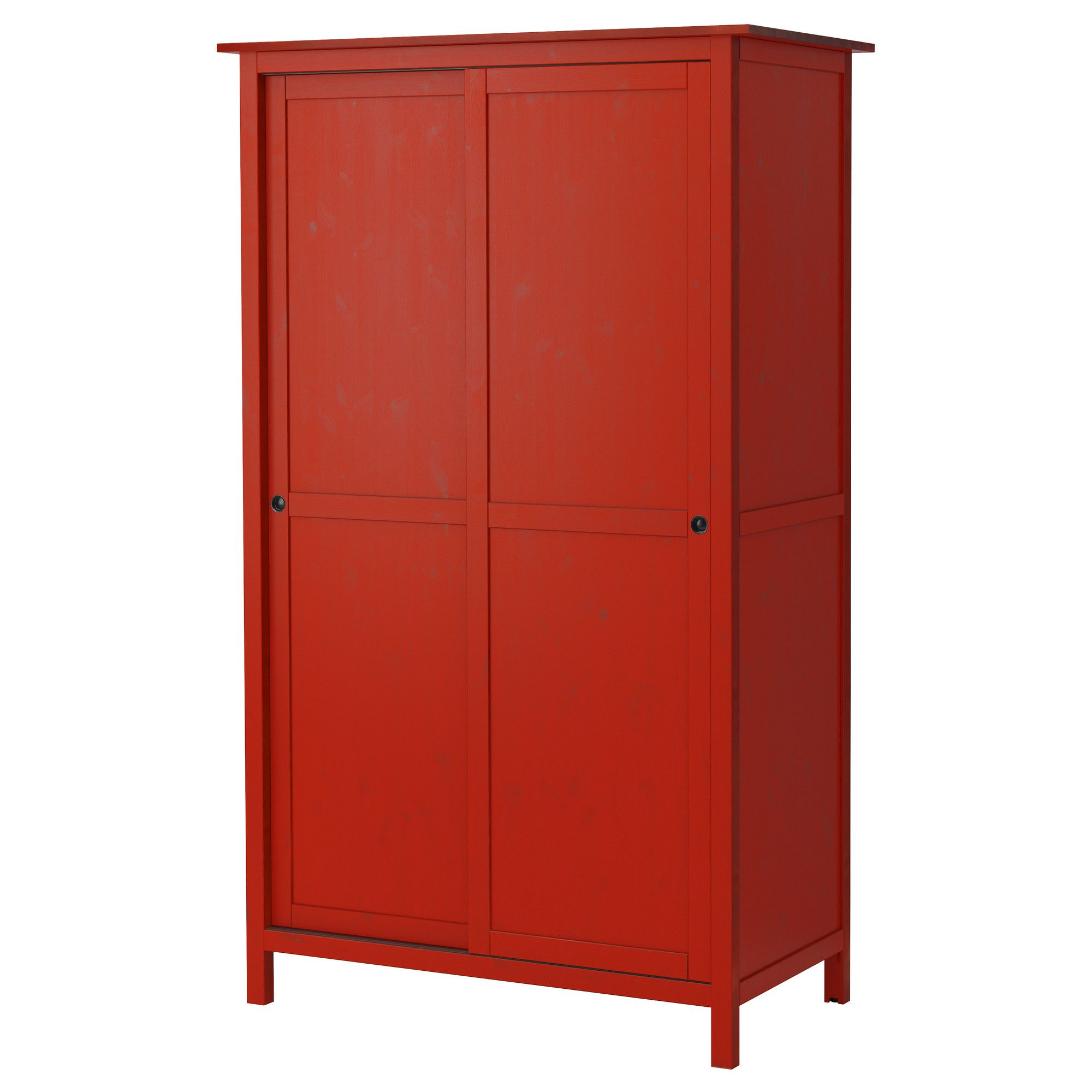 hemnes kleiderschrank mit 2 schiebet ren rot ikea oder weiss 120x197 249 eur. Black Bedroom Furniture Sets. Home Design Ideas