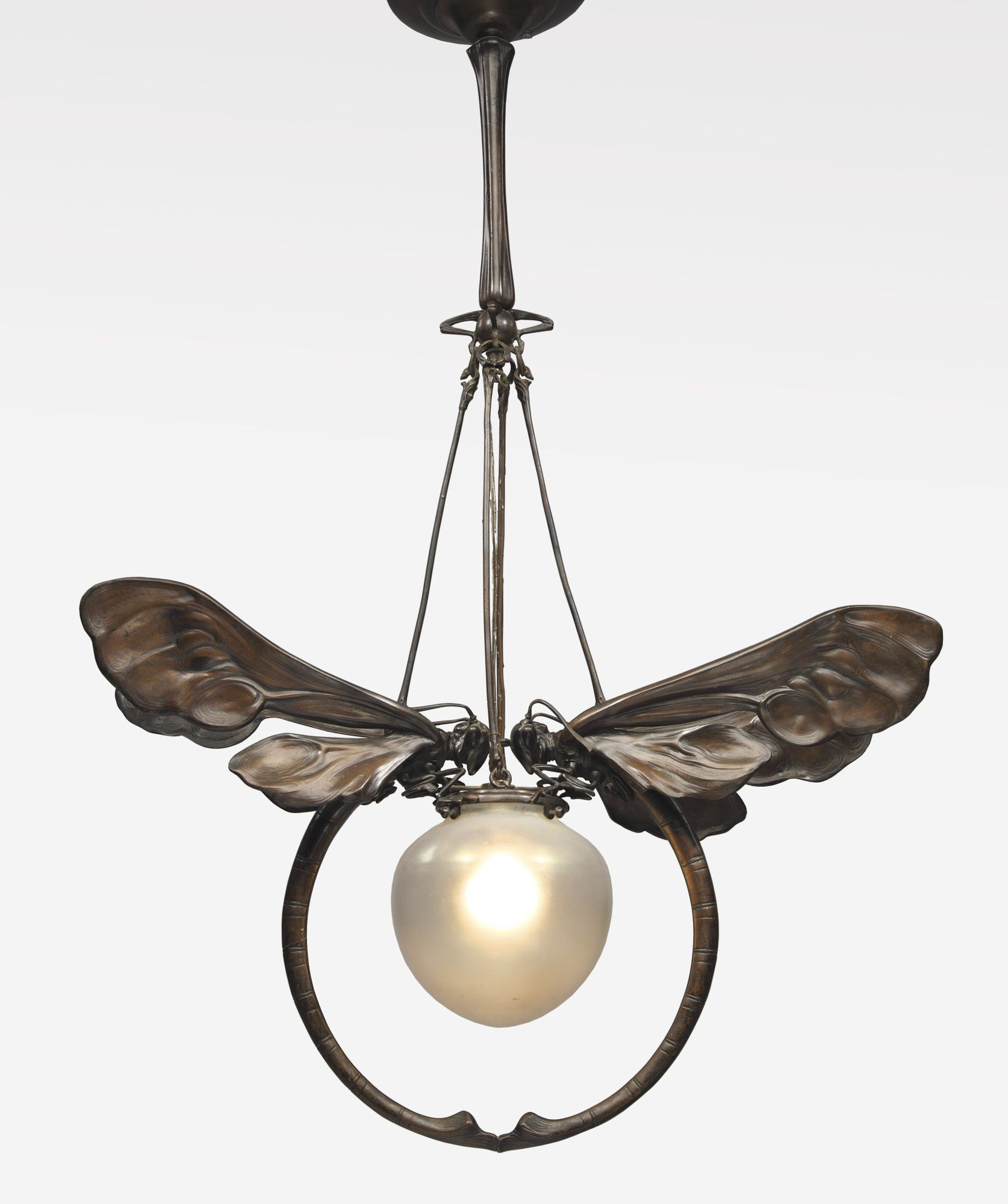 European Art Nouveau chandelier in patinated bronze and glass , ca. 1900, sold by Sotheby's, December, 2014 for $87,500