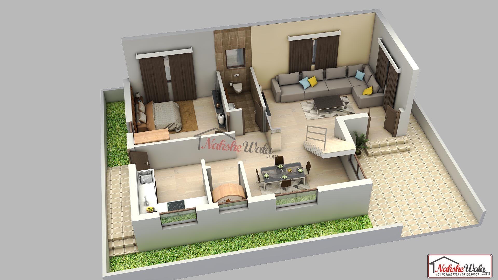 1 Bhk 3d Floor Plan Design By Nakshewala Com Floor Plan Design House Layout Plans 3d House Plans