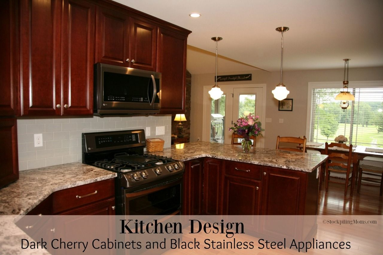 Kitchen Design Dark Cherry Cabinets And Black Stainless Steel Appliances Stainless Steel Kitchen Appliances Black Stainless Steel Appliances Dark Kitchen Cabinets