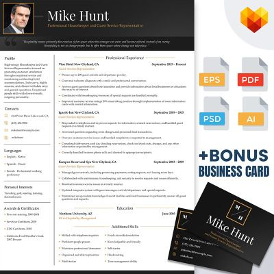 Mike Hunt - Hospitality Resume Template for Professional Housekeeper - hospitality resume