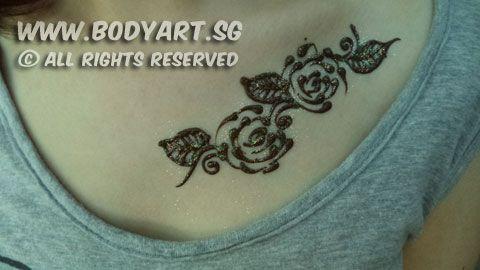Mehndi Nape Tattoo : Henna mehndi artist singapore rose design breast