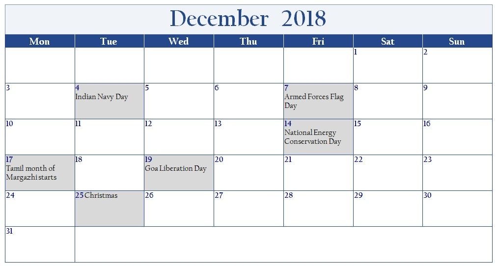 Simple December 2018 Calendar With India Holiday List India