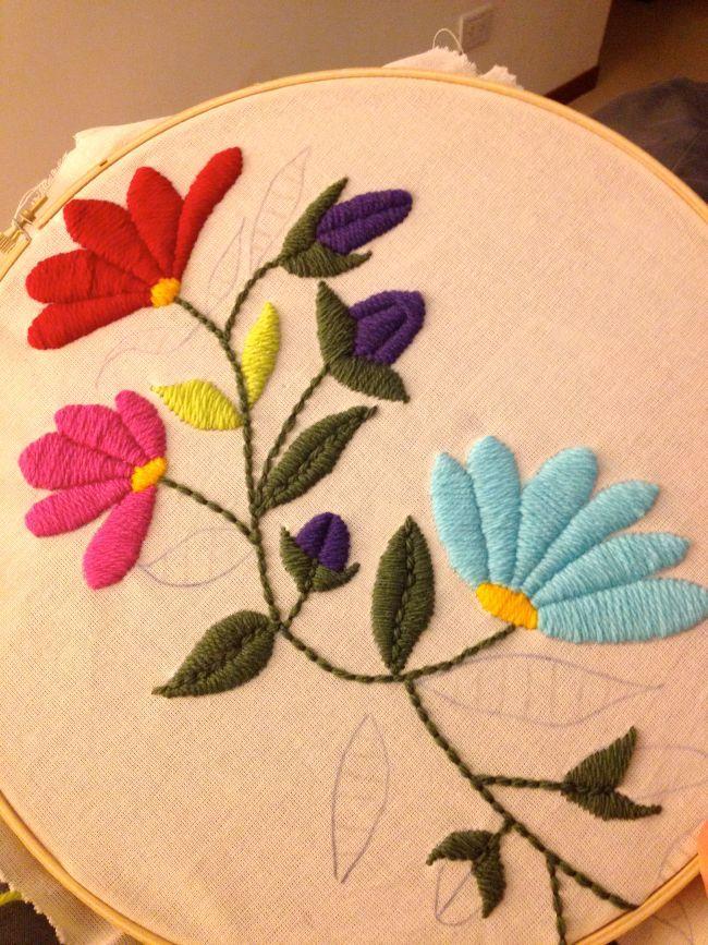 dibujo de flores para bordados con lana sobre arpillera  Buscar