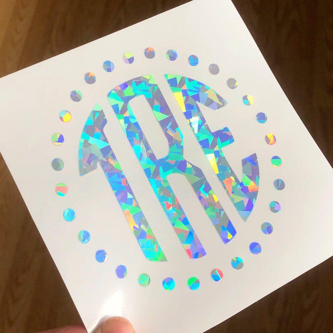 Holographic Monogram Decal Monogram Sticker Personalized Etsy Monogram Car Stickers Cute Car Decals Monogram Decal [ 1124 x 1124 Pixel ]