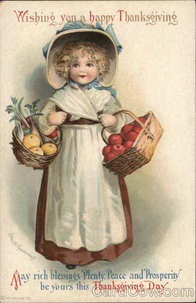 Wishing You a Happy Thanksgiving-Girl Holding Baskets of Fruits and Vegetables #happythanksgiving