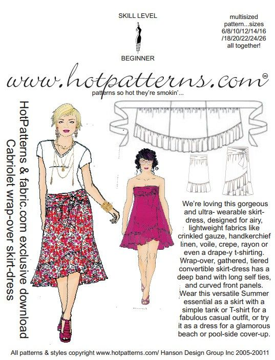 PATTERN! FREE Cabriolet Wrap-Over Skirt/Dress Pattern | Skirts ...