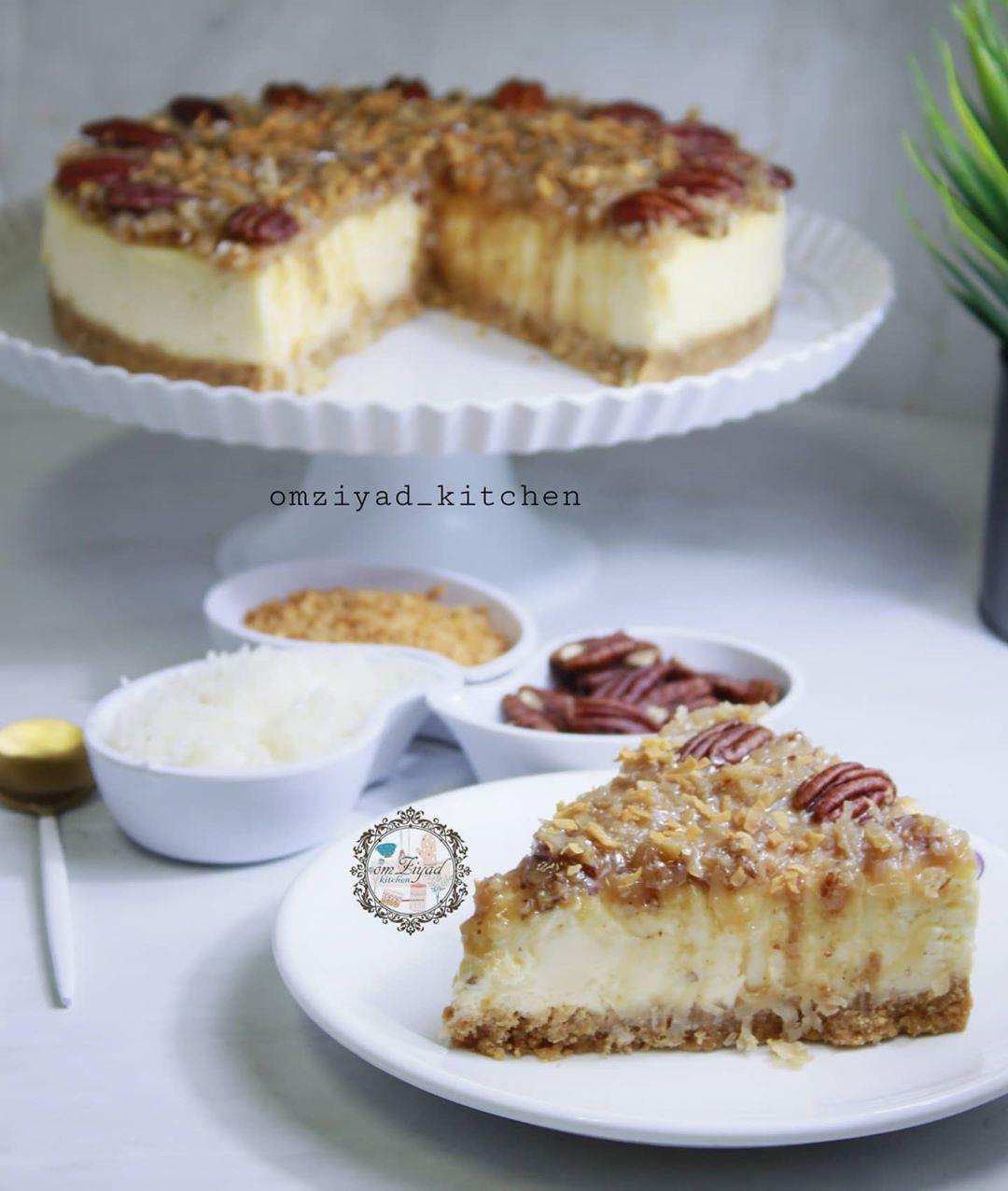 ام زياد On Instagram Omziyad Kitchen تشيز كيك جوز الهند والبيكان المقادير لطبقه البسكوت كوب وربع بسكوت دايجستف مطحون ناعم وربع ك Cheesecake Food Desserts