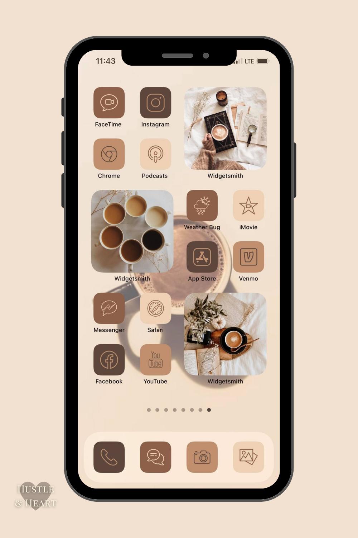 iPhone IOS 14/15 App Icons Arabica   76 Pack
