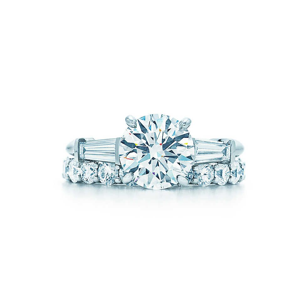 Round Brilliant with Tapered Baguettes   Elegant engagement rings ...