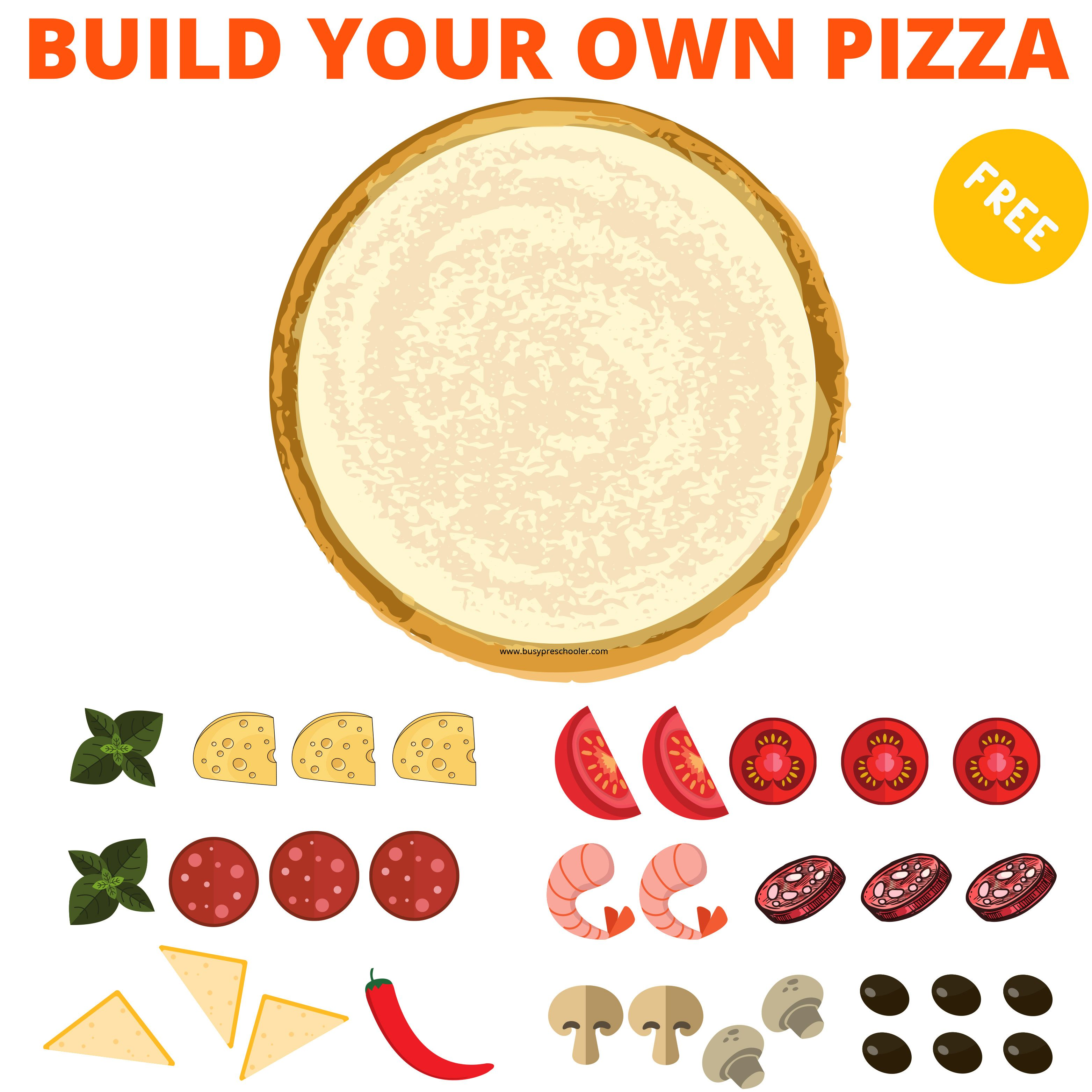 Free Printable Build Your Own Pizza Activity For Kids Make Your Own Pizza Food Themes Pizza Ingredients [ 3125 x 3125 Pixel ]