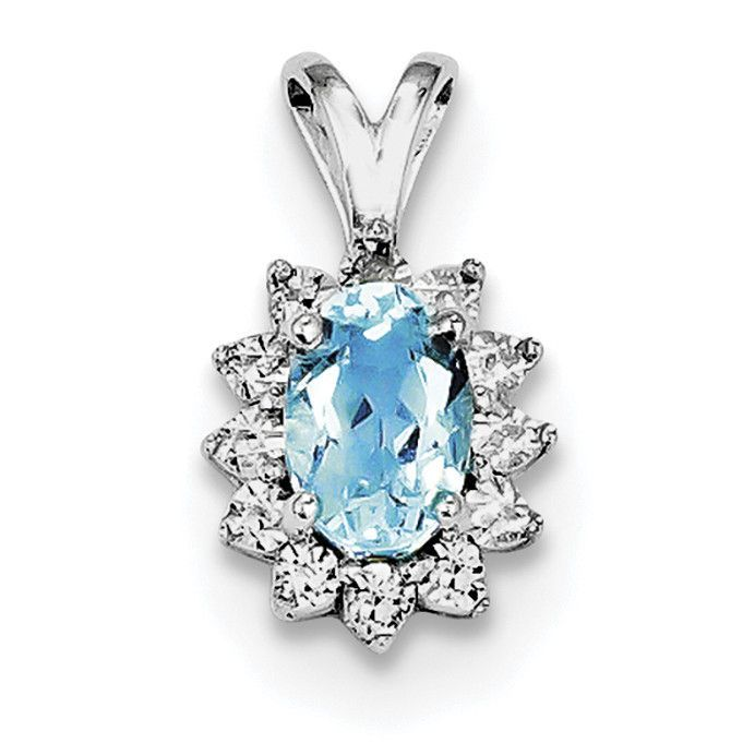 Sterling Silver Rhodium-plated Diamond & Light Blue Topaz Pendant QP3070BT
