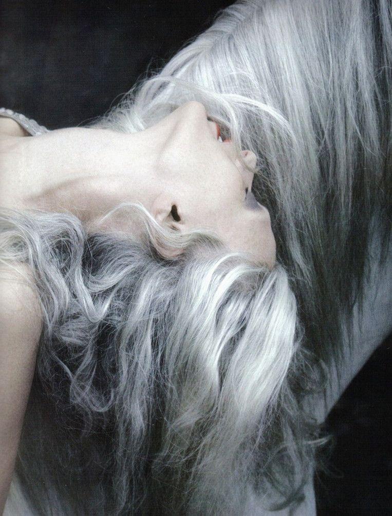 lamorbidezza: Kristen McMenamy | Silver hair, Grey hair ...