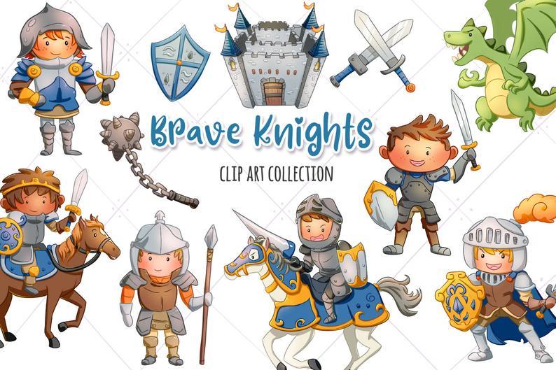 Brave Knights Clip Art Collection Cute Fantasy Knights Etsy In 2020 Clip Art Art Collection Illustration Design